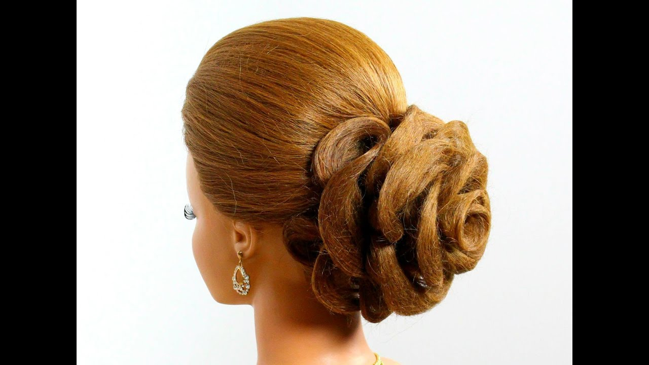 Wedding hairstyle for long hair tutorial. Hair made rose ...