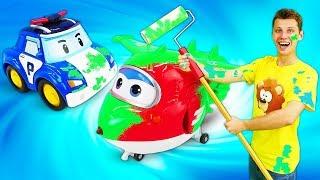 Видео для малышей Веселая школа. Игрушки из мультиков работают малярами!
