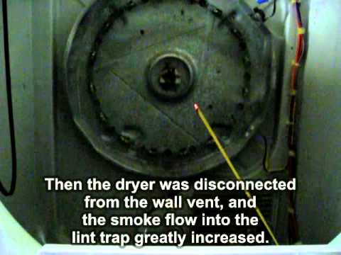 Test of dryer air flow, proving duct to roof is clogged