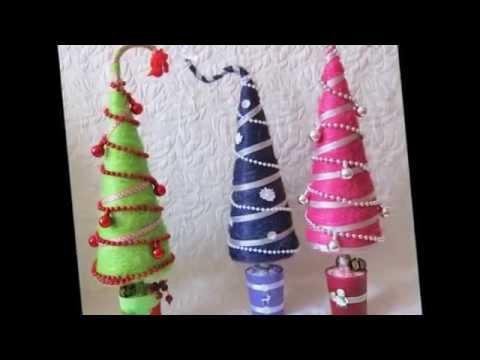 Декоративные новогодние елочки своими руками