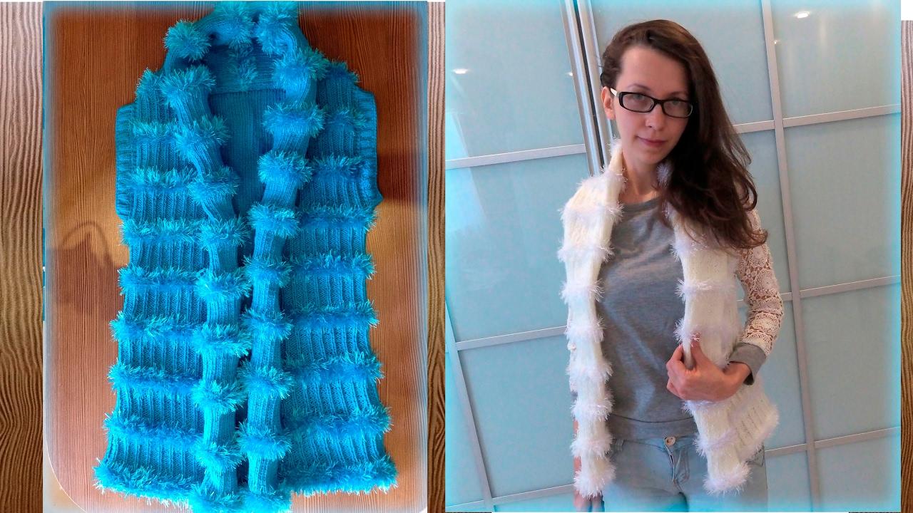 вяжем стильный жилет спицами Stylish Waistcoat With Knitting