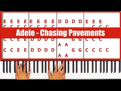 Chasing Pavements Adele Piano Tutorial - EASY