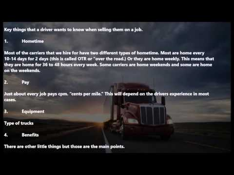 Truck Driver Recruiter Training - Presenting the job to Truck Drivers