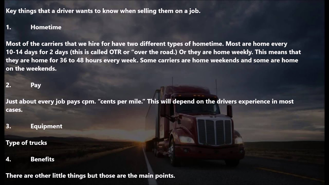 Truck Driver Recruiter Training   Presenting The Job To Truck Drivers