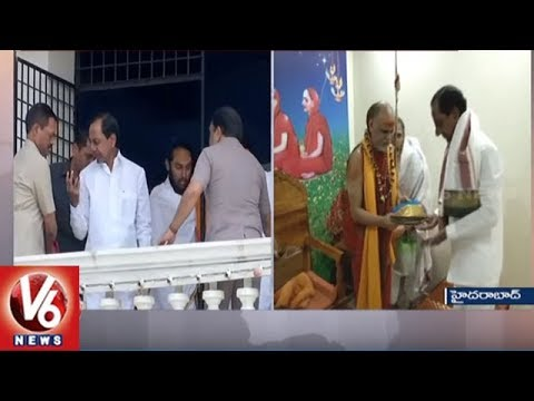 CM KCR Meets Swaroopanandendra Swamy |  KCR Takes Blessings From Swaroopanandendra Swamy | V6 News