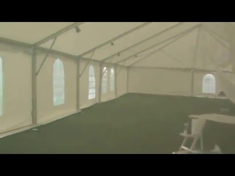 tent wedding set up reception in bad weather