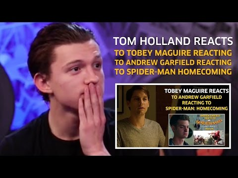 Tom Holland reacts to Tobey Maguire reacting to Andrew Garfield reacting to Homecoming (Parody)