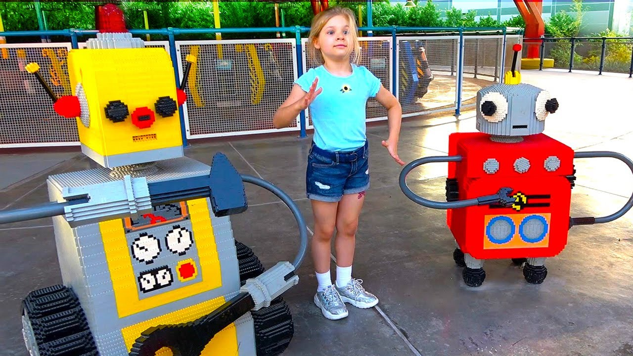 Diana and Roma in Legoland! Dubai Amusement Park Family Fun for kids