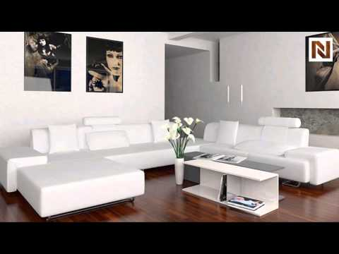 Madrid Modern White Leather Sectional VGEV2238