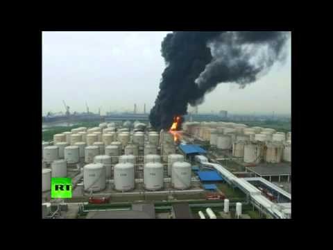 RAW: Powerful blast causes blaze at Chinese chemical warehouse