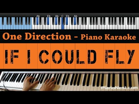 One Direction If I Could Fly Lower Key Piano Karaoke Sing