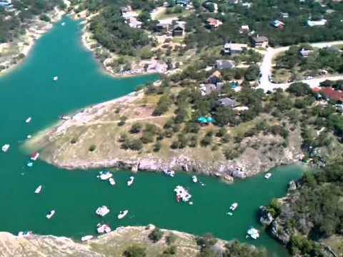 Flying over party cove Canyon Lake, TX