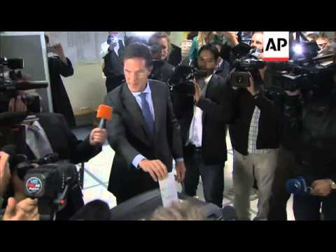Dutch Prime Minister Rutte voting in election