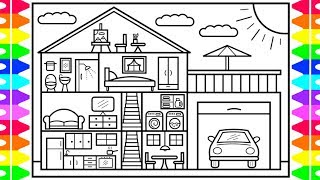 How to Draw a House Step by Step 🏡🚗House Drawing Design | House Coloring Pages for Kids