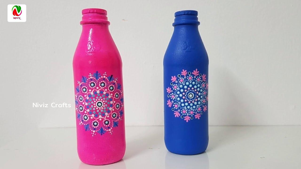 2 Bottle Painting Ideas / Bottle Art / Mandala Art For Beginners/ Dot Mandala Painting / Niviz Ep 66