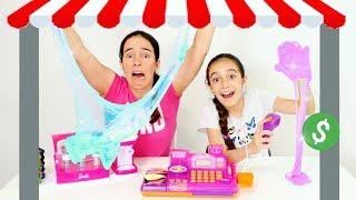 DESAFIO DA LOJINHA MALUCA DE SLIME! ★ Comprinhas e Diversão Brincando com a Mamãe (SLIME CHALLENGE)