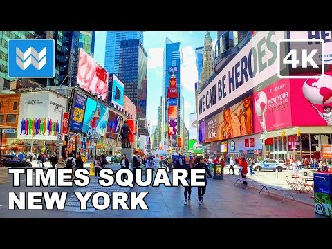 Walking around Times Square in Midtown Manhattan, New York City - 4K