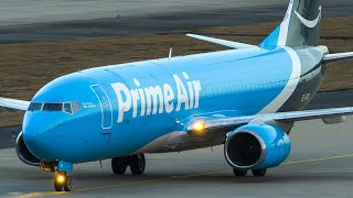 BOEING 747 Close Up LANDING FIRST BOEING 737-800 FREIGHTER For Prime Air (4K)