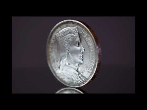 Nikon D7500 4K video. Historic Numismatic Coins. 1931 Latvia 5 Five Lats Silver Coin