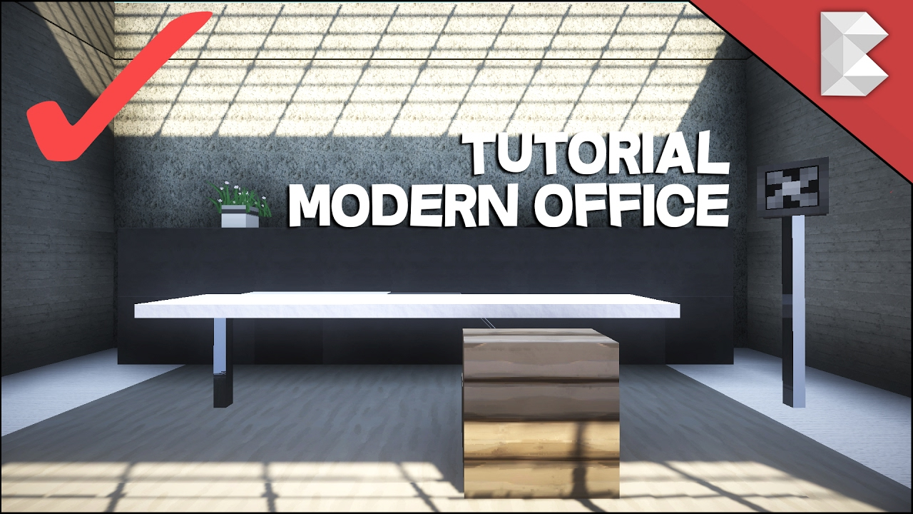 minecraft modern office tutorial interior design series ep4 youtube