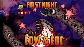 Terraria - Eater of Worlds & Eye of Cuthulu on the First Night [Speedrun Challenge]