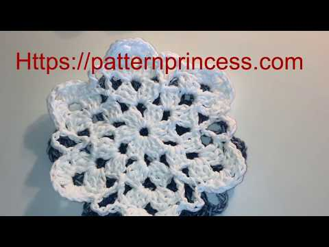 Crochet Simple Snowflake Coaster Part 1 of 2