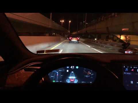 Tesla Autopilot Auto Lane Change Construction Zone Attempt #3 Video #2 2018.14.2