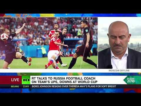 Russia coach Stanislav Cherchesov talks to RT