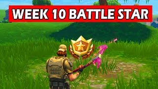 Fortnite: Search between a covered bridge, waterfall and the 9th green! Week 10 (BATTLE STAR)