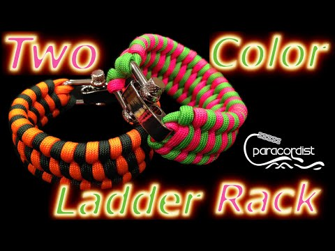 "Paracordist How to Tie the Two-Color Ladder Rack Paracord Bracelet w/ ""D"" Shackle & Quick Buckle Jig"