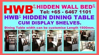 Hwb™ Hidden Dining Table + Display Shelves. Width Can Be Customise. Hdb Hub Showflat + Show Room