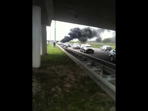 Ongeluk A2 11/09/2011 Auto en camper in de vlammen..............