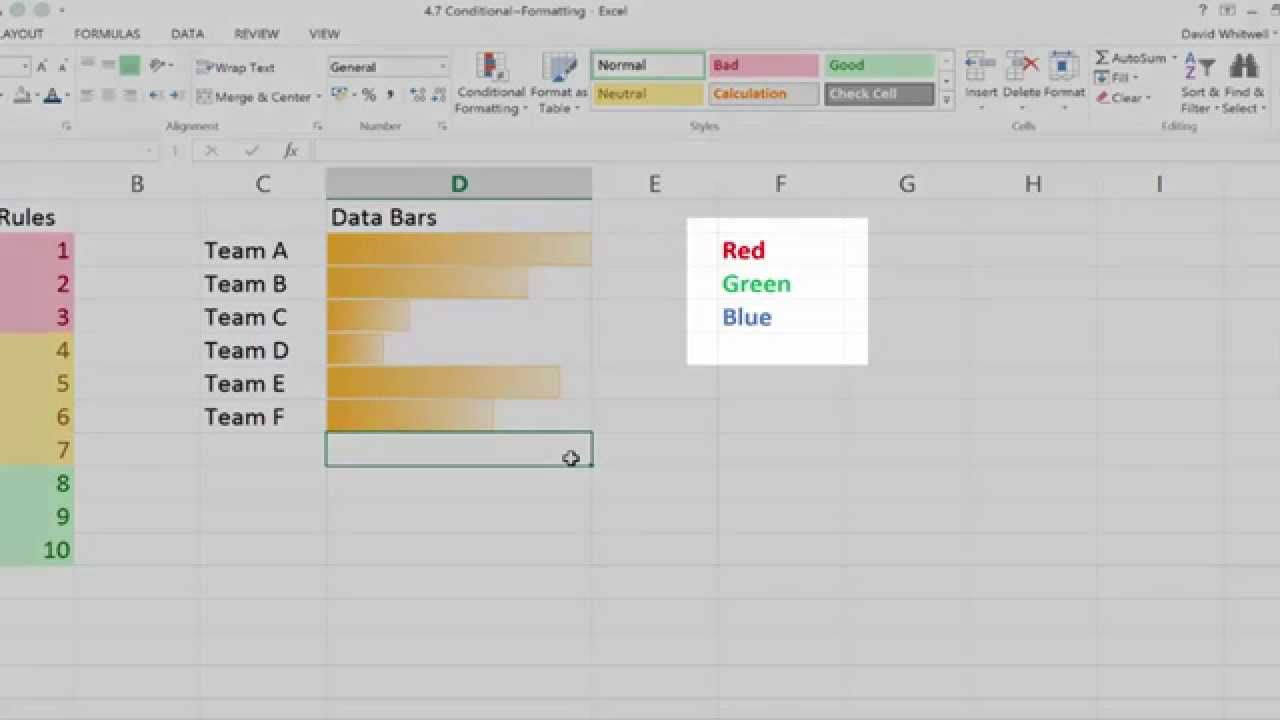 Learn Excel Online - Conditional Formatting