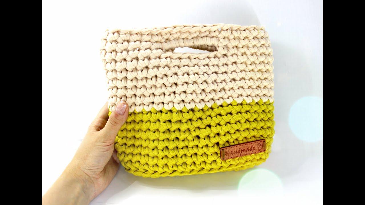 Сумка крючком. Трикотажная пряжа / Crochet bag - YouTube
