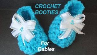 Repeat youtube video CROCHET PATTERN, LITTLE BLUE BABY BOOTIES