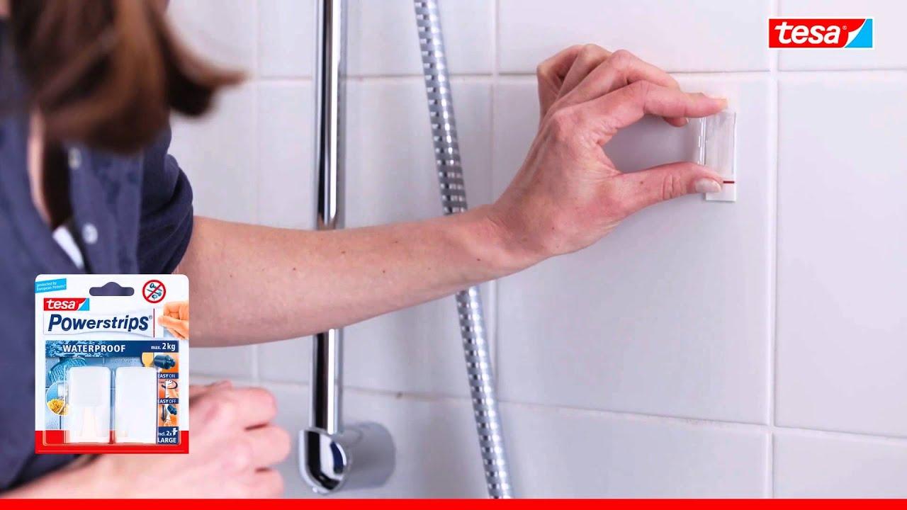 tesa Powerstrips - Wasserfeste, selbstklebende Wandhaken für Bad und ...