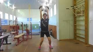 Гиревой спорт. Сазанова Алёна 2008 года Толчок 2-х гирь 10 кг за 2 минуты (Спринт) 09.10.2020 года.