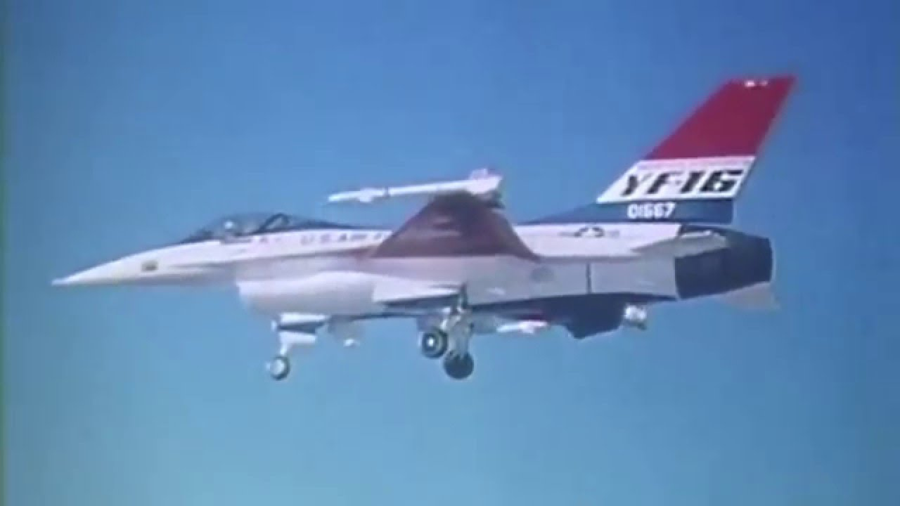 General Dynamics YF-16 fighter prototype, first official full-scale flight  at Edwards Air Force Base