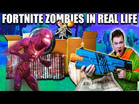 FORTNITE BOX FORT BATTLE IRL!!  Fortnite Zombies Base Defence (Nerf)