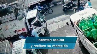 Hombre evita asalto lanzando un tanque de gas al ladrón