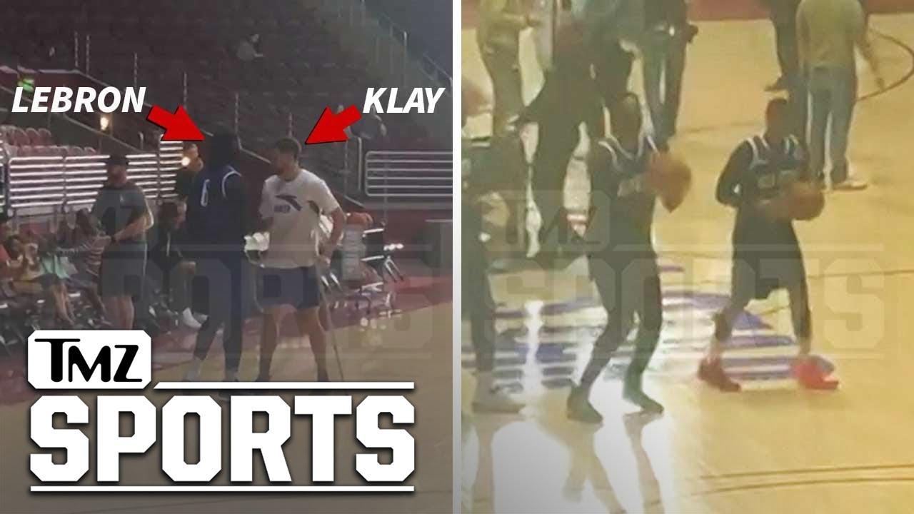Klay Thompson Crutches to 'Space Jam 2' Set, Hugs LeBron | TMZ Sports
