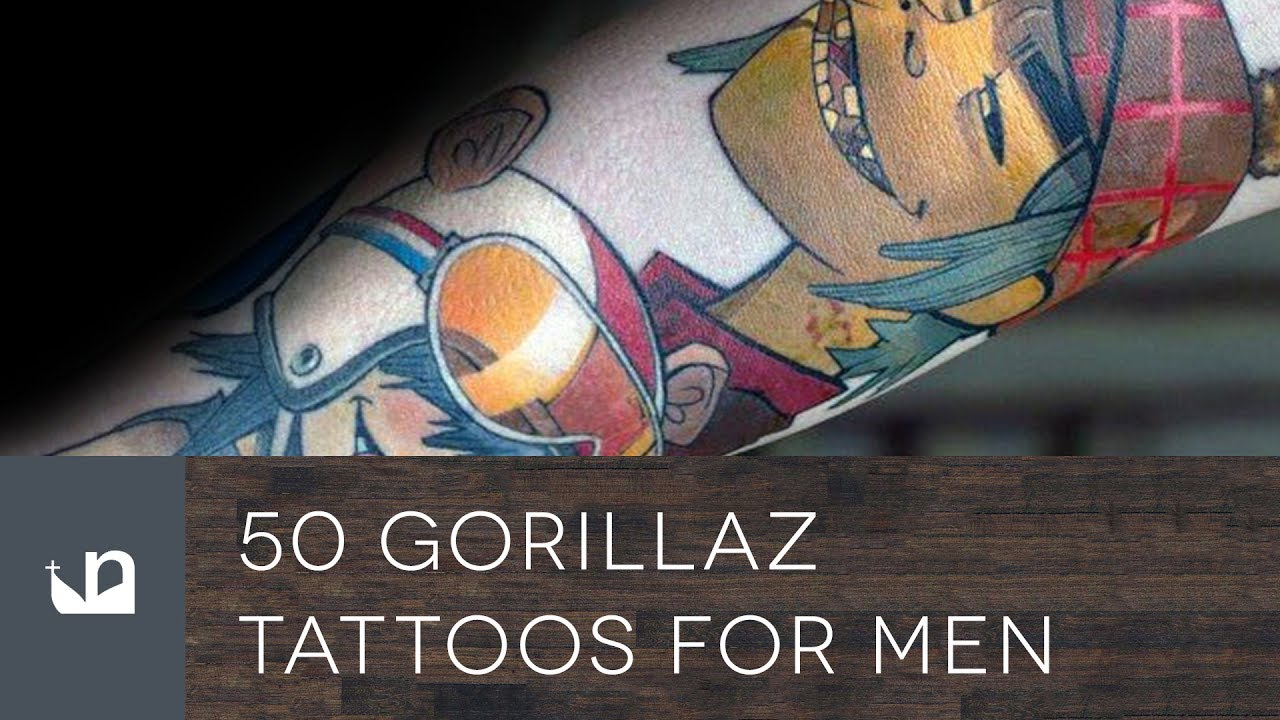50 Gorillaz Tattoo Designs For Men – Music Band Ink Ideas
