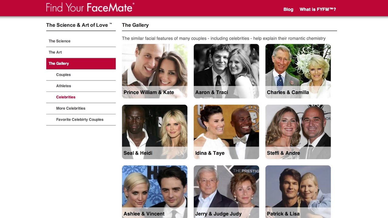facemate dating site Proving that similar facial features equal true love, the site put it to the test with celebrity couples looking at photographs of eva mendes and ryan gosling , facemate says that this power couple truly makes quite the match: the rounded chins, close-set eyes, and identical face outline all point to true love.