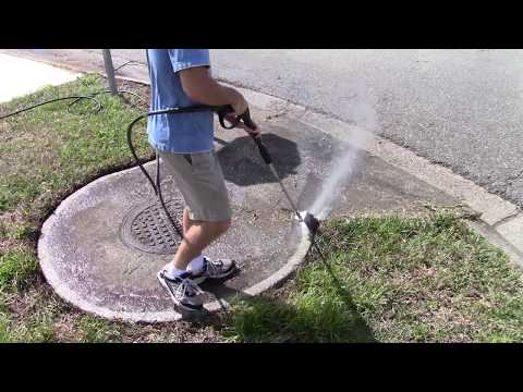 Pressure washing the storm sewer - Satisfying!!