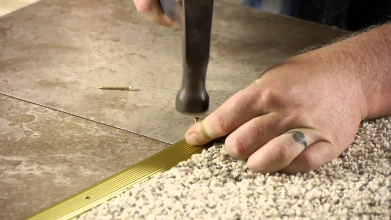 How To Install A Transition Strip From Carpet To Ceramic Tile Youtube