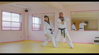 Hoshinsul #2 Doube-wrist grab on one arm (For Quiet Flame Taekwondo yellow belt)