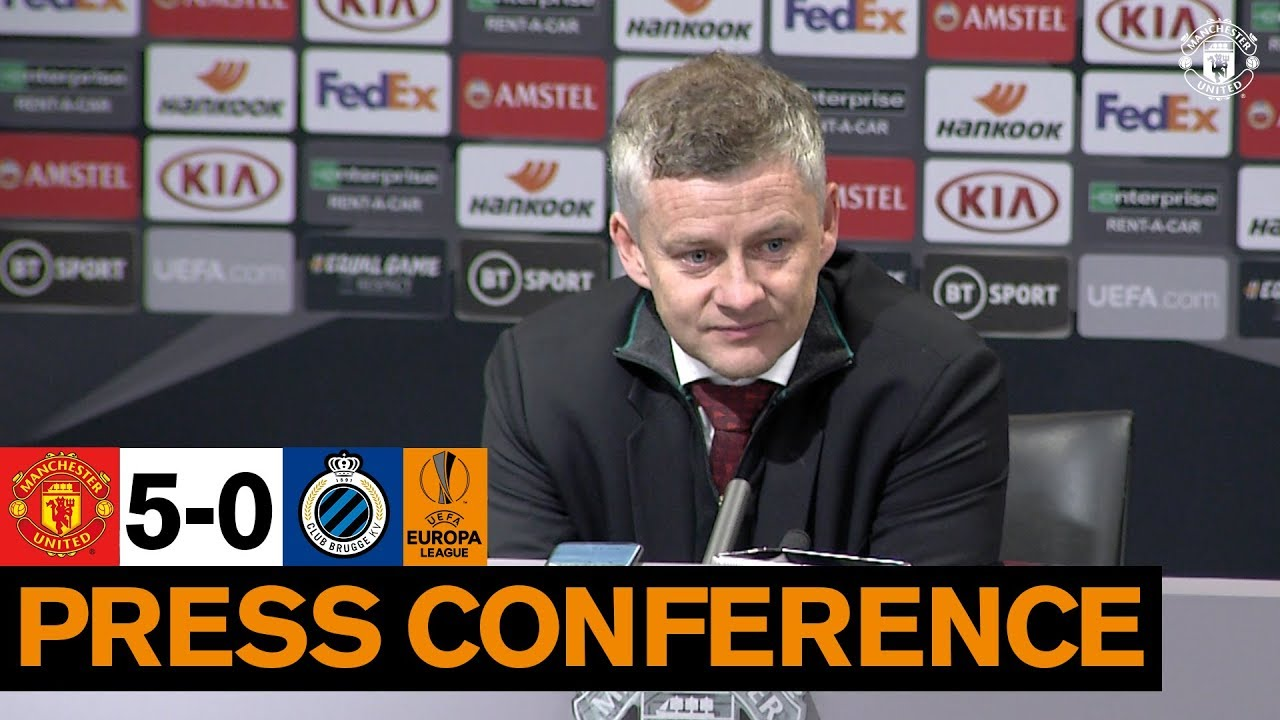 post match press conference manchester united 5 0 club brugge uefa europa league youtube post match press conference manchester united 5 0 club brugge uefa europa league