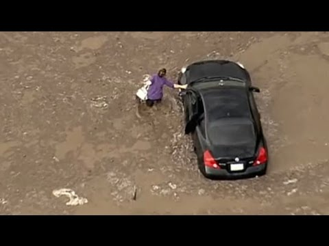 Motorists stranded in massive California mudslide