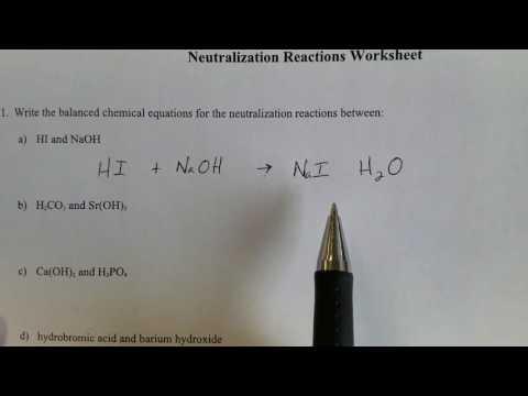Acid Base Neutralization Equation - YouTube