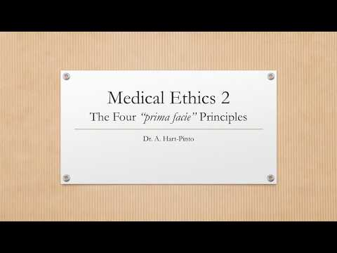 Medical Ethics 2 - The Four Principles - Prima Facie Autonomy, Beneficence, NonMaleficence & Justice